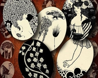 Aubrey Beardsley's Art Nouveau (1) Two Digital Collage Sheets with Ovals 1.2x1.6 inch - 30x40mm or smaller - Buy 3 Get 1 Extra Free