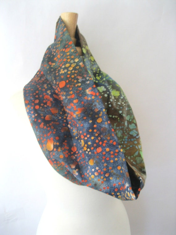 Batik Infinity Scarf - Outer Space Batik Stamp Printed Eclectic Scarf