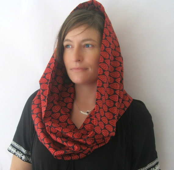 Red and Black Infinity Scarf - Pineapple Print Designer Print Eclectic Snood Scarf