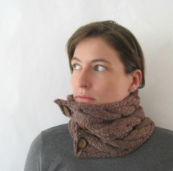 Knitted Neckwarmer : Silk and Wool Chunky Knit Cowl in Wine Grape Cables Women's Luxurious and Soft