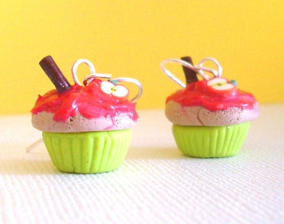 Sour Apple Cupcake Earrings, Clay Mini Food Earrings with Red Frosting and Little Apples, Kawaii Fruit Cakes