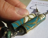 Washi paper with green labradorite, pewter and turquoise earrings by Earth Kentro