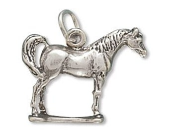 Horse Standing Arabian 3d Charm Pendant Sterling Silver