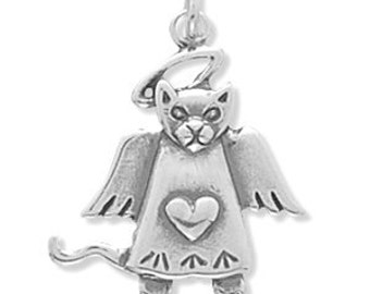 SALE Sterling Silver Angel Cat Charm Heart Pendant Marked 30% off Regular Price