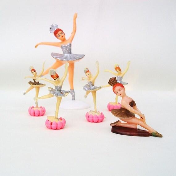 Vintage Ballerina Cake Toppers Ballet Little Girl Party 1960s