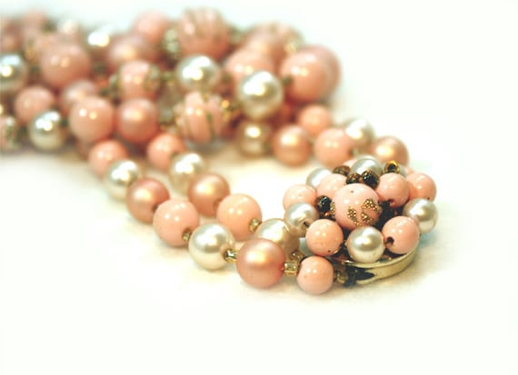 Vintage Necklace Double Strand Bead Faux Pearl Box Clasp Peach Pink Japan Vintage Jewelry Jewellery 1950s 50s