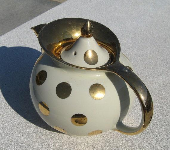 Hall gold and white polka dot teapot for Gold polka dot china