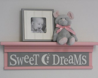 "Pink and Gray Wall Shelving - Soft Baby Pink Nursery Art  - Sweet Dreams - Sign on 24"" Pastel Light Pink Shelf"