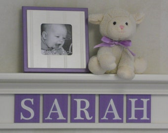 "Purple Nursery - Decor Wall Shelf Personalized - SARAH - 24"" Linen (Off White) Shelf - 5 Lilac Wood Letters - Nursery Art Decor"