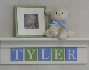 Blue Green Nursery Art Children Name Nursery Decor White Shelf / Sign Wooden Letters Personalized for Boys Room