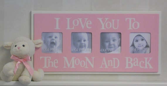 Pink Nursery - I Love you to the Moon and Back - Pastel Pink Nursery Wall Art Baby Girl Sign 4x4 Picture Frame