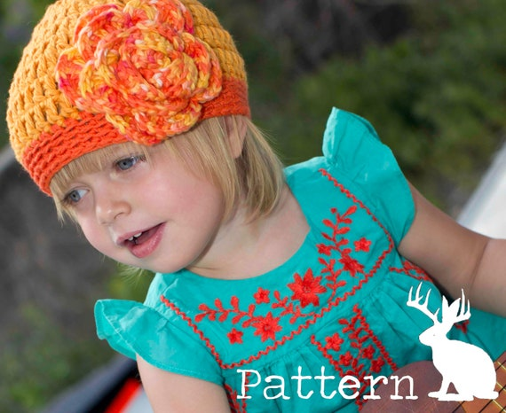 Beanie Rose Pattern Crochet Hat Flower