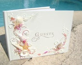 """GORGEOUS Beach wedding guest book, hand decorated with real starfish and sea shells in pink and white, 8.5""""x 6"""" or 10""""x11"""" with a pen"""