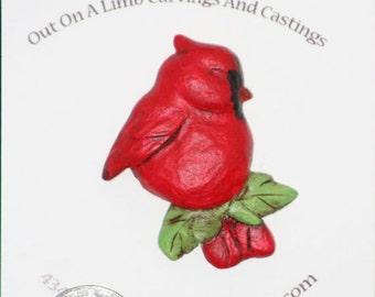 Cardinal pin, Cardinal jewelry, Cardinal brooch, Cardinal sculpture,Cardinal figure,carved jewelry