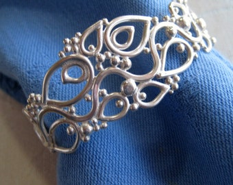 Sculptural Winding Vine Cuff Bracelet in Sterling Filigree, Smaller Size