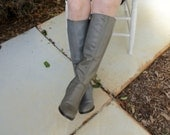 Gray Leather Boots, Knee High Boots, Vintage Leather Boots, Size 7-B Boots, Made in Brazil