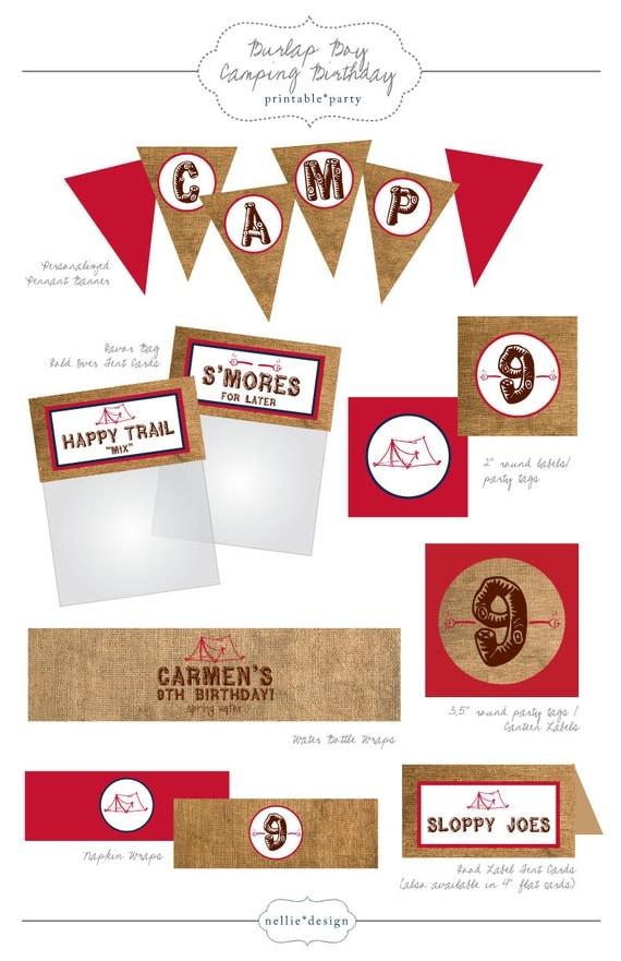 DIY Printable Camping Birthday Party Printables - Boy & Girl Designs