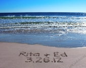 Names and Wedding date Written in the sand - Personalized for you - FREE Shipping!