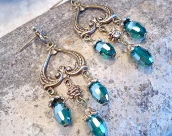 Aqua Filigree Dangle Crystal Earrings