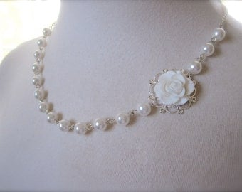 Asymmetrical pearls Necklace Bridesmaids Gift Bridal Jewelry Flower necklace White necklace Rose necklace victorian Vintage style