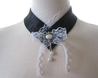 Victorian Lace Choker Gothic lolita accessories Ruffled Fabric Necklace Black & white Bow NeckTie Renaissance Edwardian jewelry w pearls