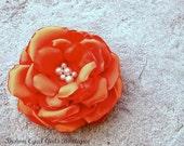 Pumpkin Orange Bridal Flower Hair clip, Pumpkin Orange Wedding Hair Accessory, Orange Fascinator, Orange Bridal Head Piece