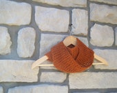 Mohair Infinity Scarf in Burnt Orange / Wool Crochet Cowl