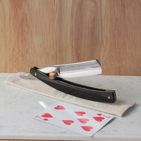 Cherry wood Straight razor and travel pouch black
