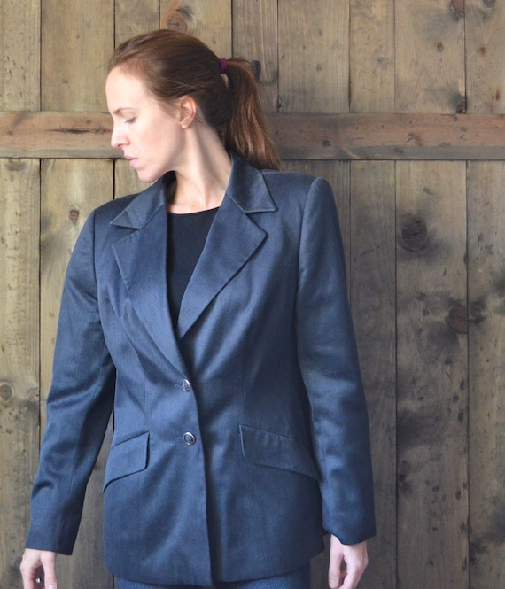 Vintage 80s 90s escada silk and wool gray-blue jacket / size 42