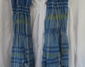 Wavy Blue and Green Bamboo and Tencel Handwoven Scarf