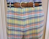 Vintage J.Press Bleeding Madras Bermuda Shorts 39 Waist Ivy league