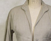 Vintage 1950s circle skirt oatmeal taupe suit linen blend by Rafi of New York