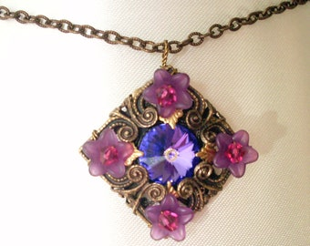 Layered filigree pendant necklace, antiqued brass, purple flowers, Austrian crystal violet rhinestone, filigree jewelry, aged brass jewelry