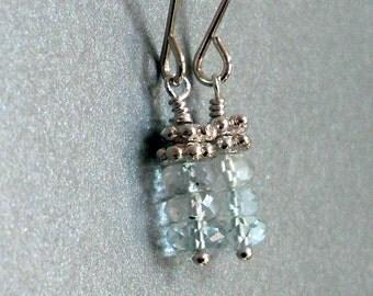 Petite Topaz earrings, pale blue. Sterling Silver. Gemstone earrings. Gemstone jewelry, pale blue jewelry. E213ss