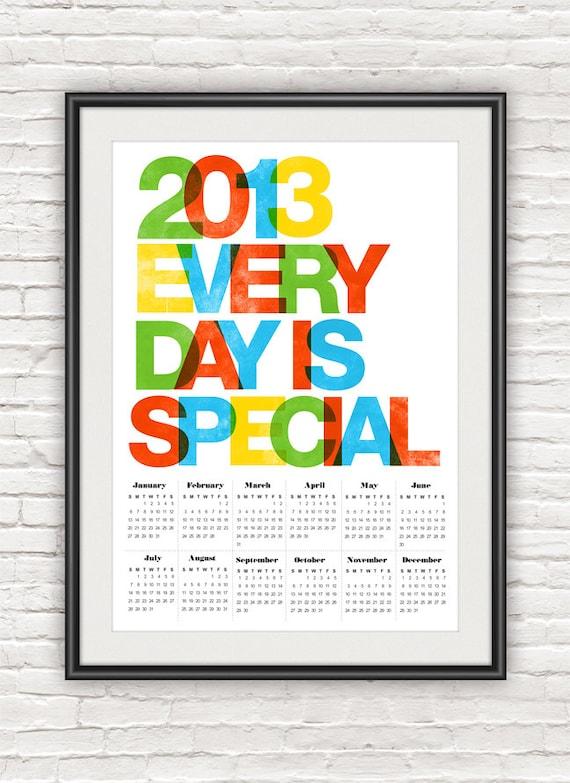 Wall Calendar Typography : Items similar to wall calendar poster helvetica print