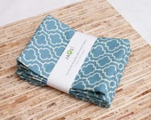 Large Cloth Napkins - Set of 4 - (N869) - Blue Tile Modern Reusable Fabric Napkins
