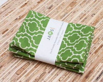 Small Cloth Napkins - Set of 4 - (N867s) - Green Tile Modern Reusable Fabric Napkins