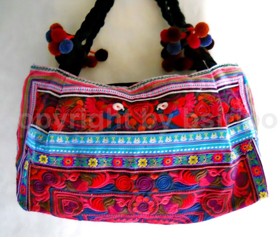 Tote Embroidered Bags Ethnic Hmong Fabric  Chic Vintage Handmade from Thailand