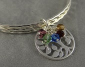 Mothers Bangle - Custom - Tree of Life - Family Tree - Hammered Finish - Crystal Birthstones - Personalized - Mother's Day Gift