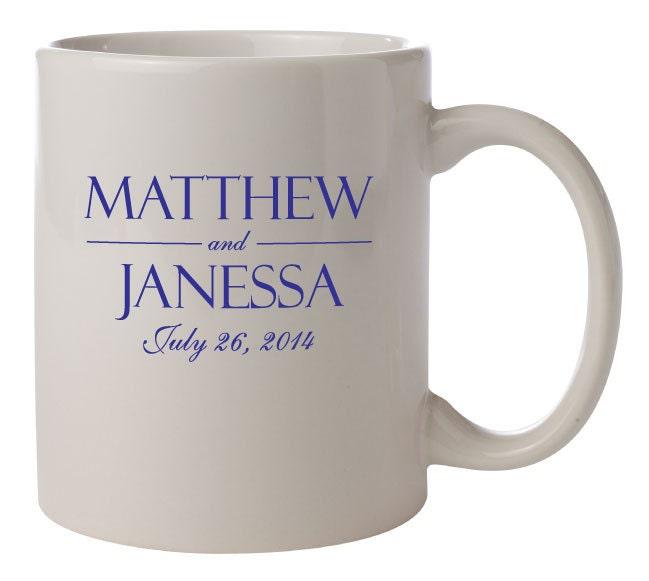 Engraved Wedding Coffee Mugs : 72 Ceramic Coffee Mugs PERSONALIZED Wedding Favors Gifts