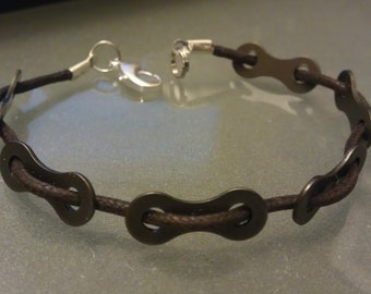 Bike Chain link Corded Bracelet - LBCUCD