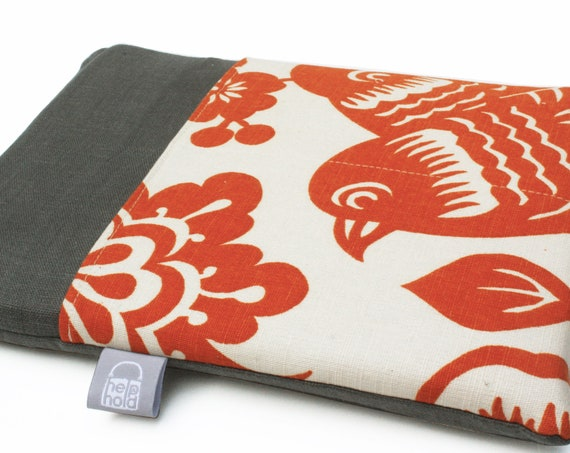 50 PERCENT OFF SALE: iPad Case, iPad Cover, iPad Sleeve for iPad 3, iPad 2 and iPad 1 in Orange and Gray Bird iPad Case