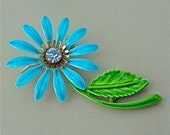RESERVED LISTING Vintage Enamel Flower Brooch 1960s Enamel DAISY Brooch Rhinestone Aqua Turquoise Blue Adorable Hippie Chic Flower Power