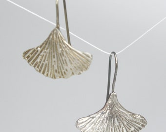 Gingko Leaf Earrings in Silver