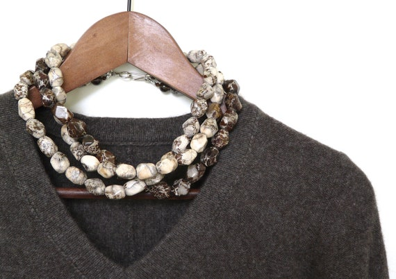 cyber monday. NUTMEG. rugged jasper necklace. triple strand. chunky. beige. taupe. chocolate brown. statement piece.