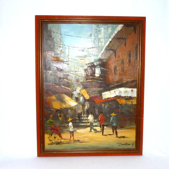 MID CENTURY Original PAINTING/ China Town