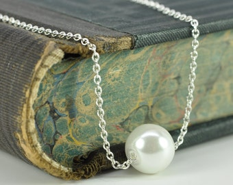 White Pearl Necklace in Sterling Silver Simple Sliding Drop Affordable Wedding Jewelry, Kristin Noel Designs