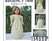 Regency 1808 V Neck Doll Dress with Cap Sleeve Empire Waist Coat Pdf Pattern  for AG or 18 Inch Doll- INSTANT DOWNLOAD