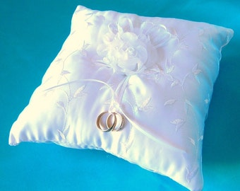 50% OFF, Last One, Embroidered White Satin Ring Bearer Pillow