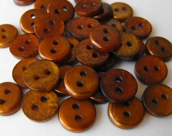 50 Copper Shiny Small Round Buttons Size 7/16""